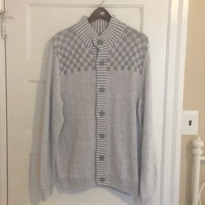 Men's gray cardigan button up sweater